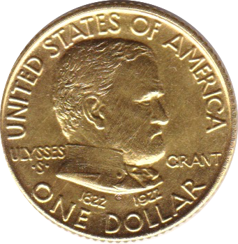 Gold-Dollar 1922 Grant Memorial ohne Stern