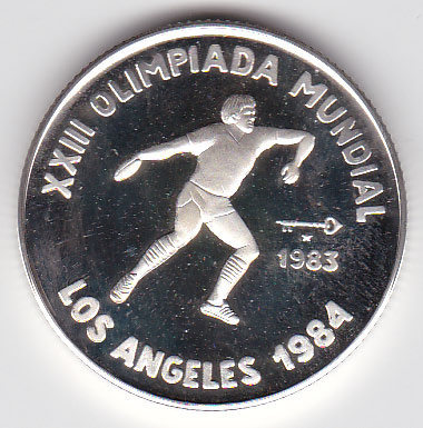 5 Peso 1983 Olympiade Los Angeles Diskuswerfer