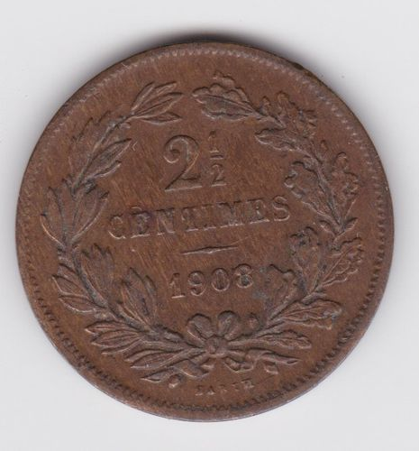 2,5 Centimes 1908 Adolphe Kupfer