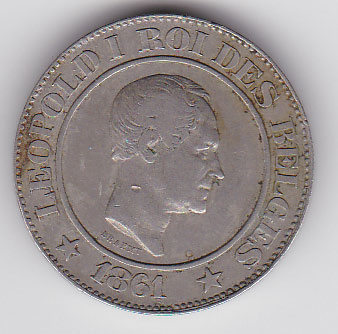 Leopold I. 20 Centimes 1861. Nickel