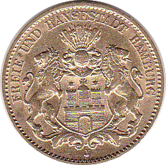 Hamburg. 10 Mark 1879