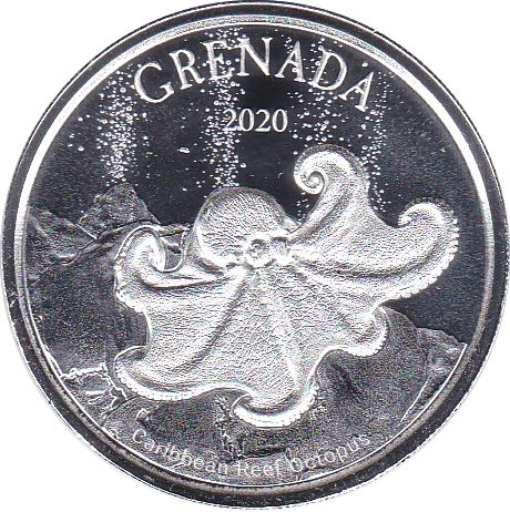 Grenada. 2 Dollar 2020 Octopus - Krake. Eastern Caribbean Central Bank